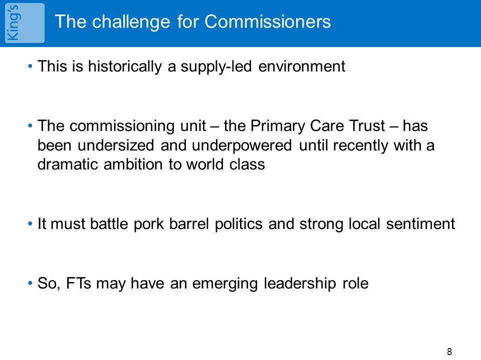 The challenge for Commissioners