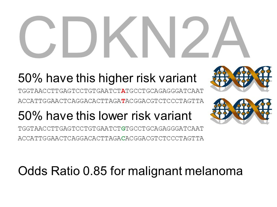 CDKN2A 50% have this higher risk variant