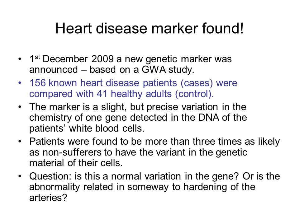 Heart disease marker found!