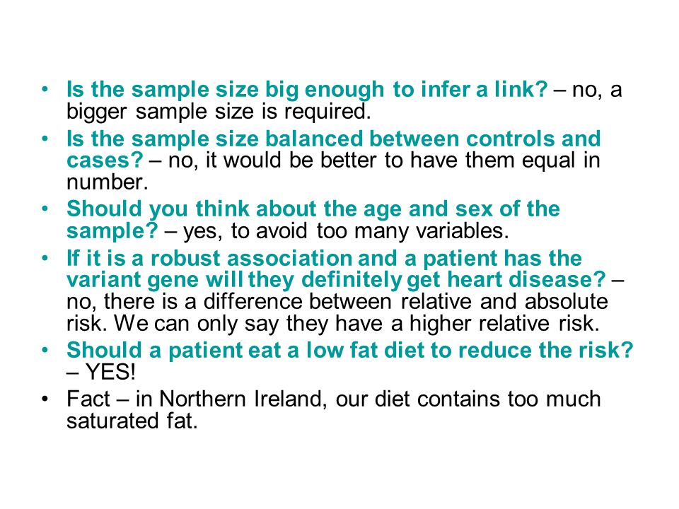 Is the sample size big enough to infer a link