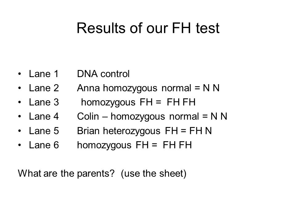 Results of our FH test Lane 1 DNA control