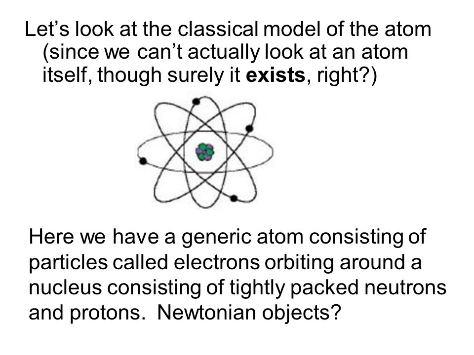 Let's look at the classical model of the atom (since we can't actually look at an atom itself, though surely it exists, right )