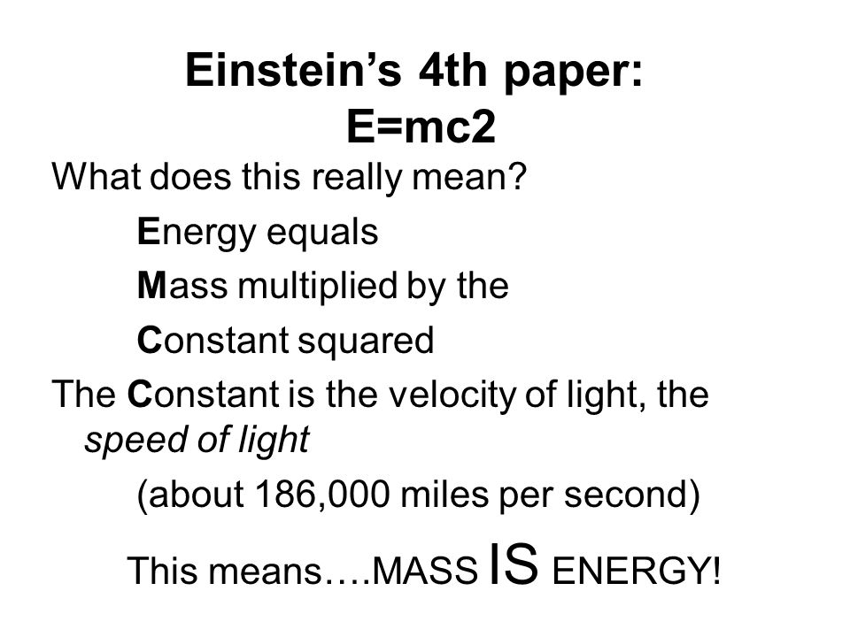 Einstein's 4th paper: E=mc2
