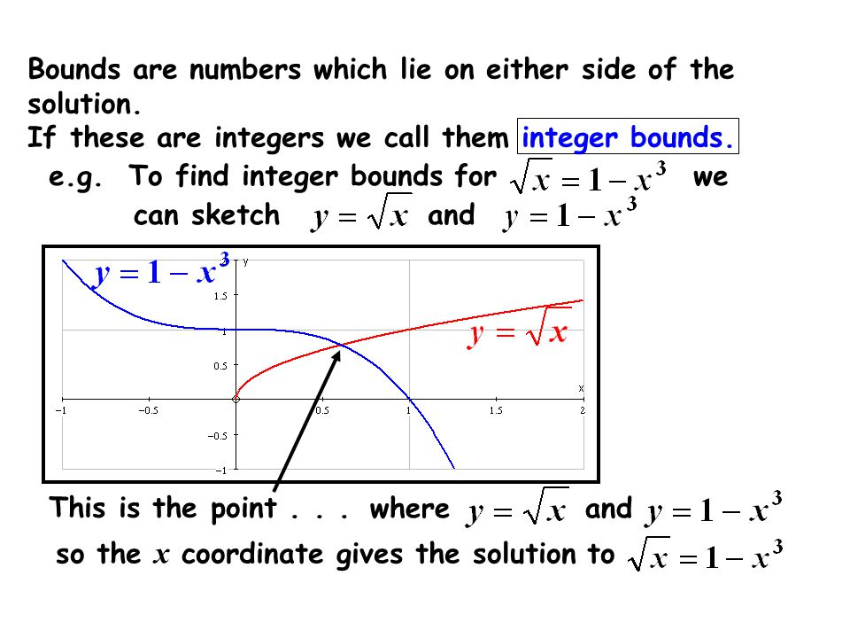Bounds are numbers which lie on either side of the solution.