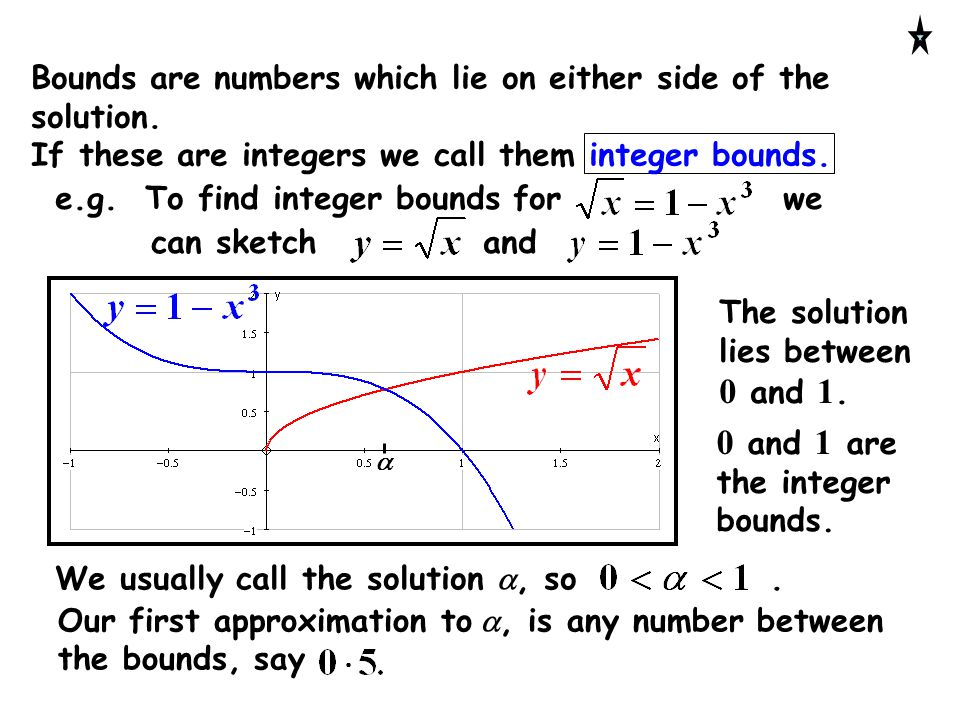 0 and 1 are the integer bounds.