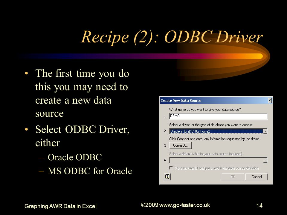 Graphing AWR Recipe (2): ODBC Driver. The first time you do this you may need to create a new data source.