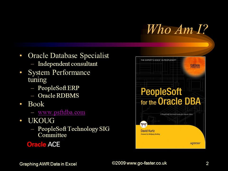 Who Am I Oracle Database Specialist System Performance tuning Book