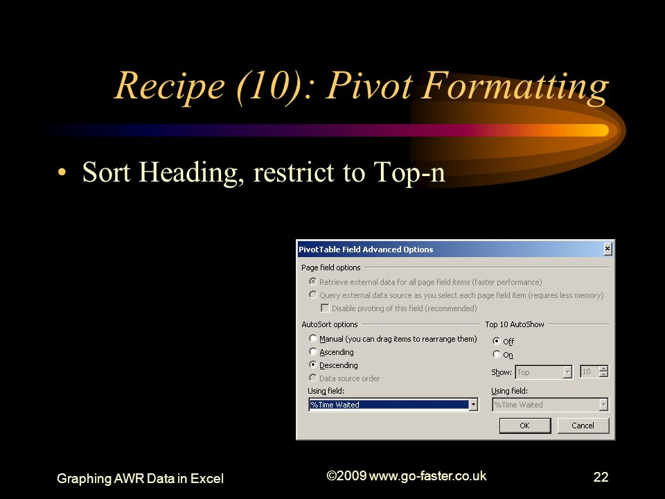 Recipe (10): Pivot Formatting