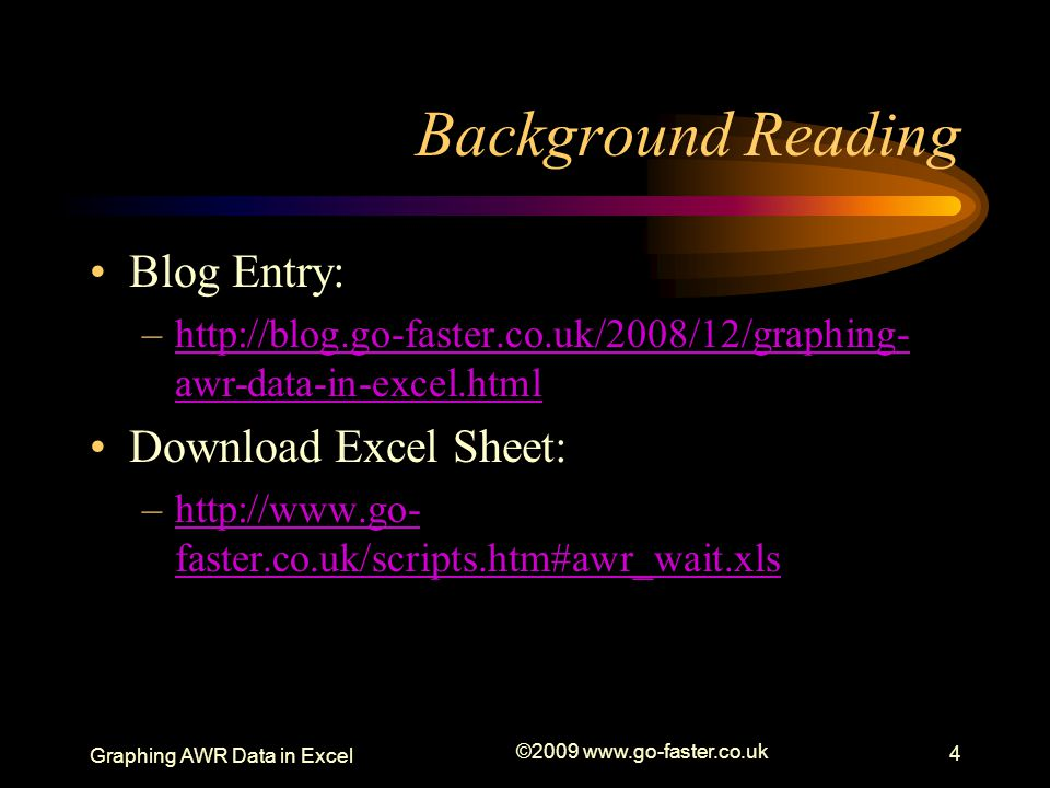 Background Reading Blog Entry: Download Excel Sheet: