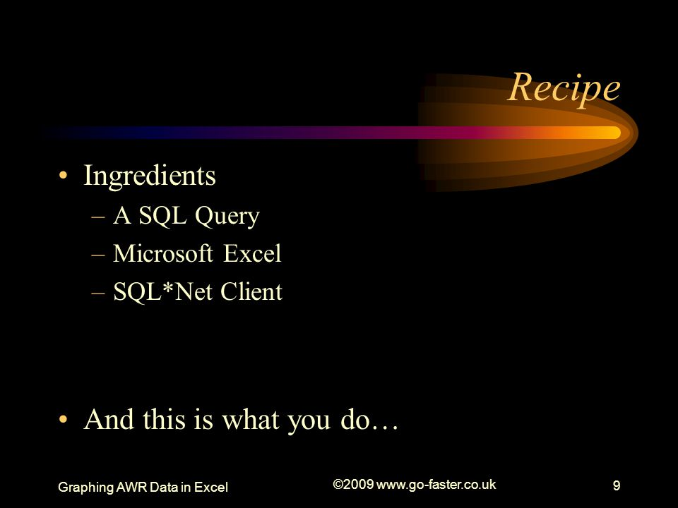 Recipe Ingredients And this is what you do… A SQL Query