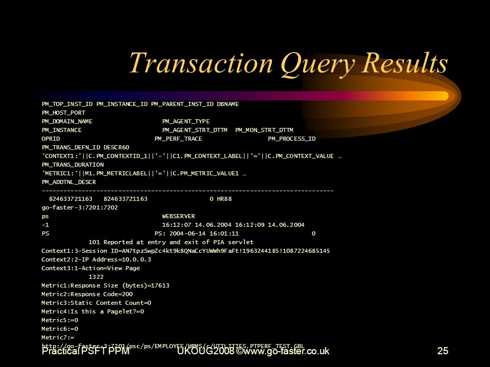Transaction Query Results