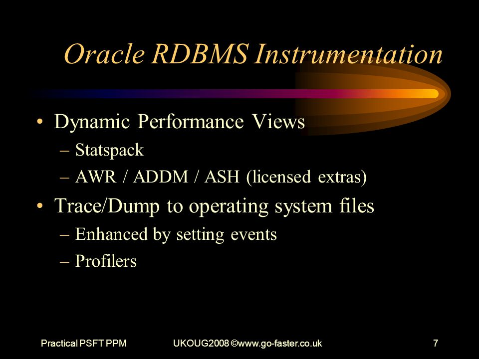 Oracle RDBMS Instrumentation