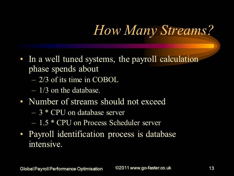 How Many Streams In a well tuned systems, the payroll calculation phase spends about. 2/3 of its time in COBOL.