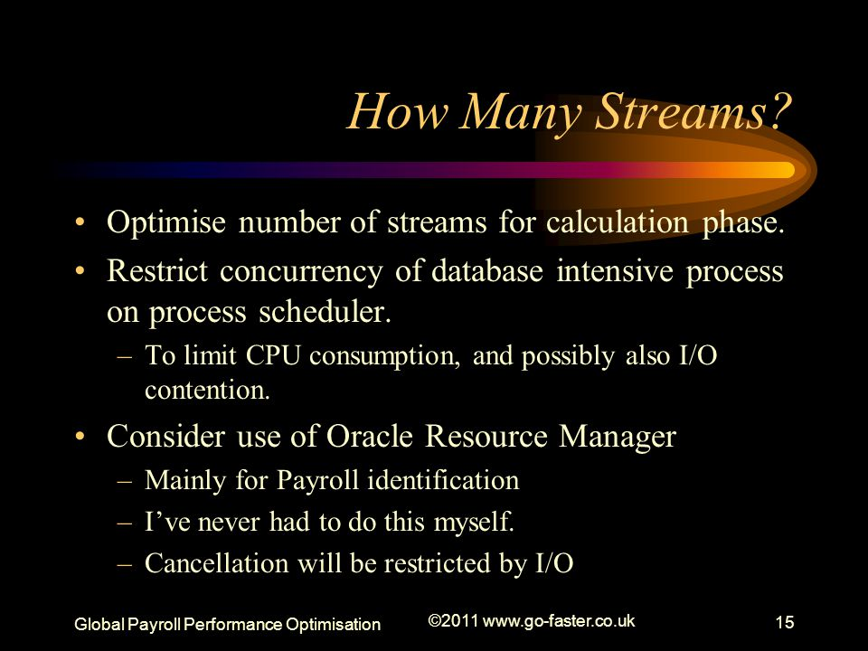 How Many Streams Optimise number of streams for calculation phase.