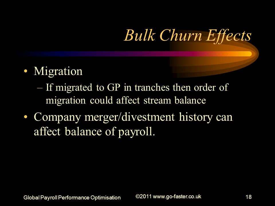 Bulk Churn Effects Migration