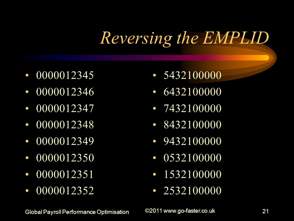 Reversing the EMPLID 0000012345. 0000012346. 0000012347. 0000012348. 0000012349. 0000012350. 0000012351.