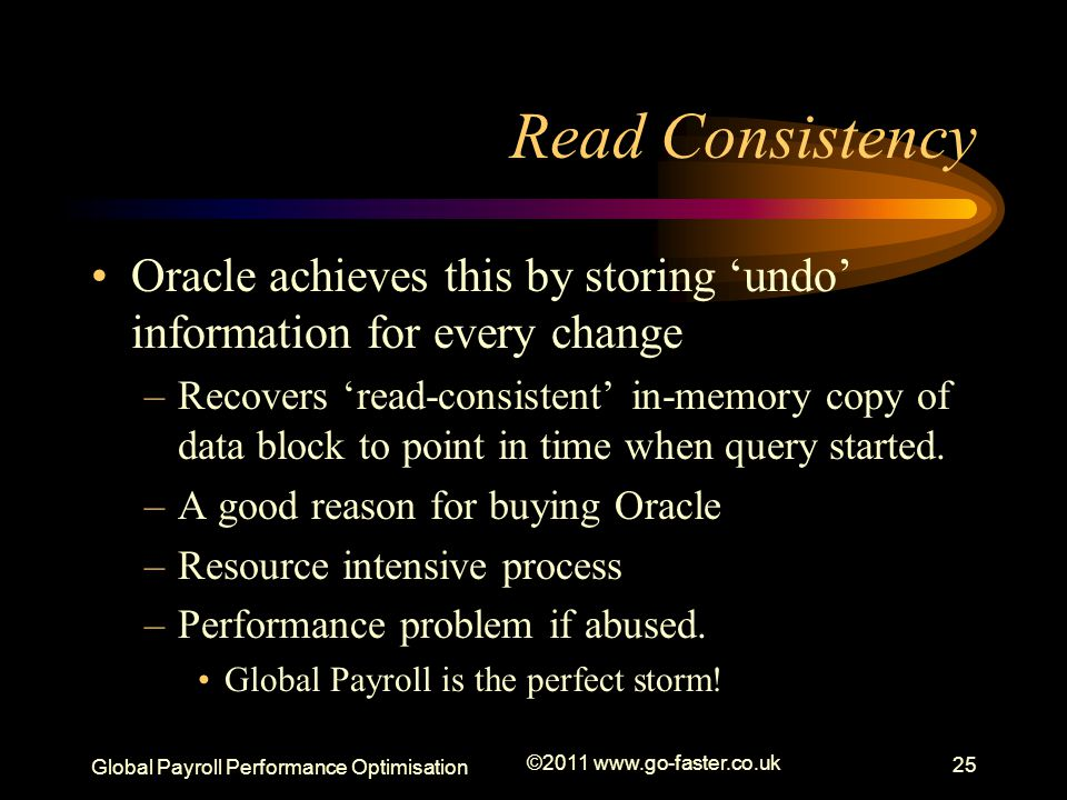 Read Consistency Oracle achieves this by storing 'undo' information for every change.