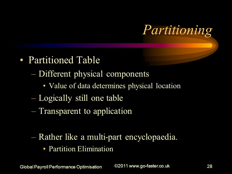 Partitioning Partitioned Table Different physical components