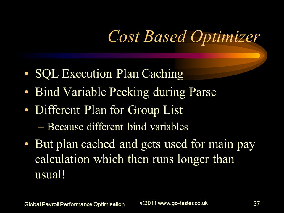 Cost Based Optimizer SQL Execution Plan Caching