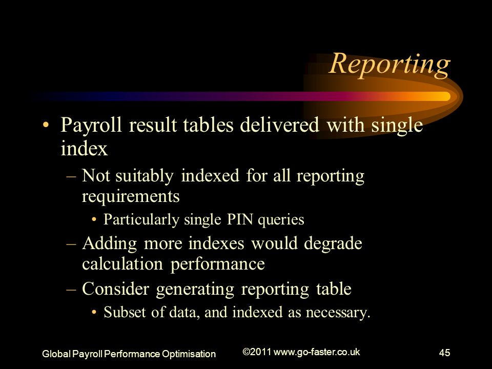 Reporting Payroll result tables delivered with single index