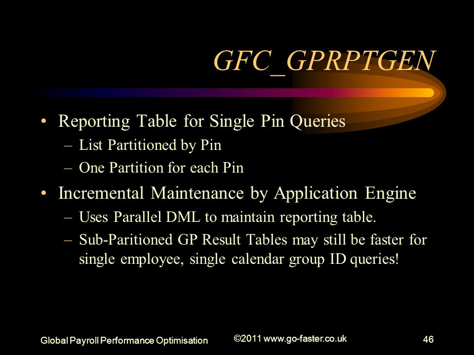 GFC_GPRPTGEN Reporting Table for Single Pin Queries