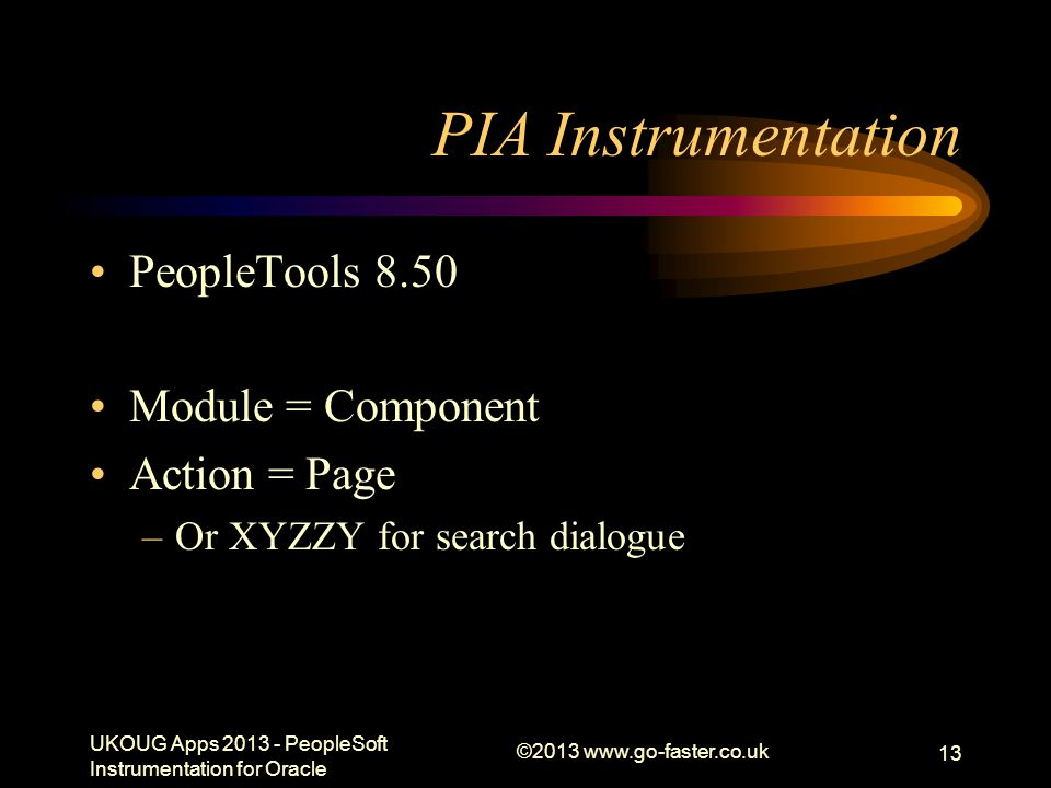 PIA Instrumentation PeopleTools 8.50 Module = Component Action = Page