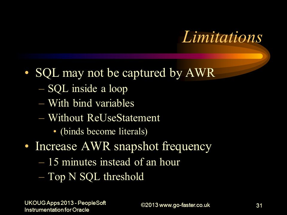 Limitations SQL may not be captured by AWR
