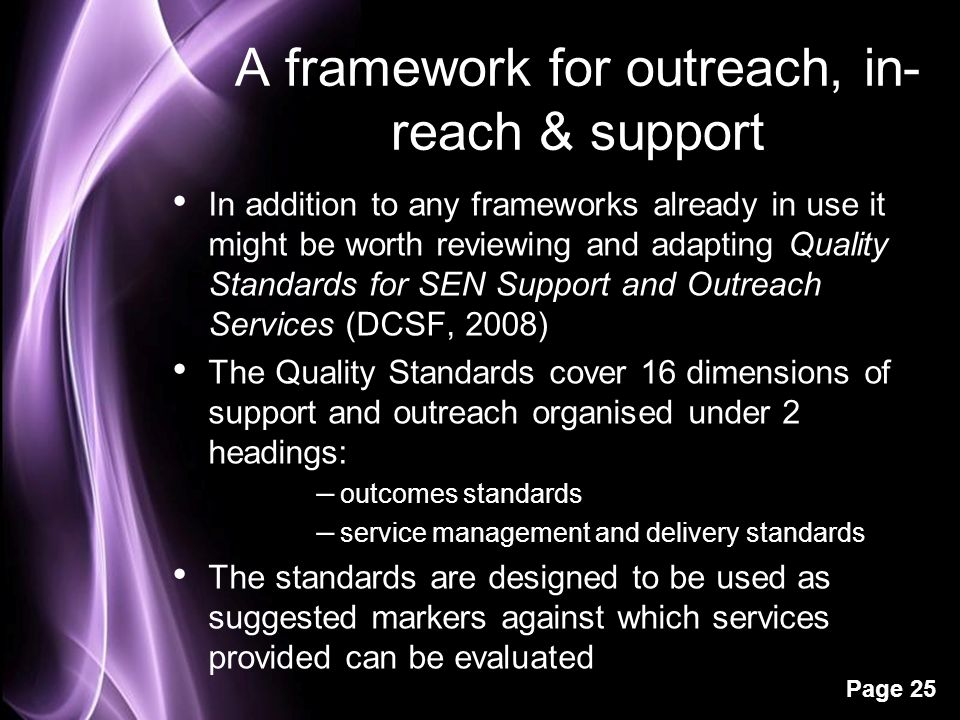 A framework for outreach, in-reach & support