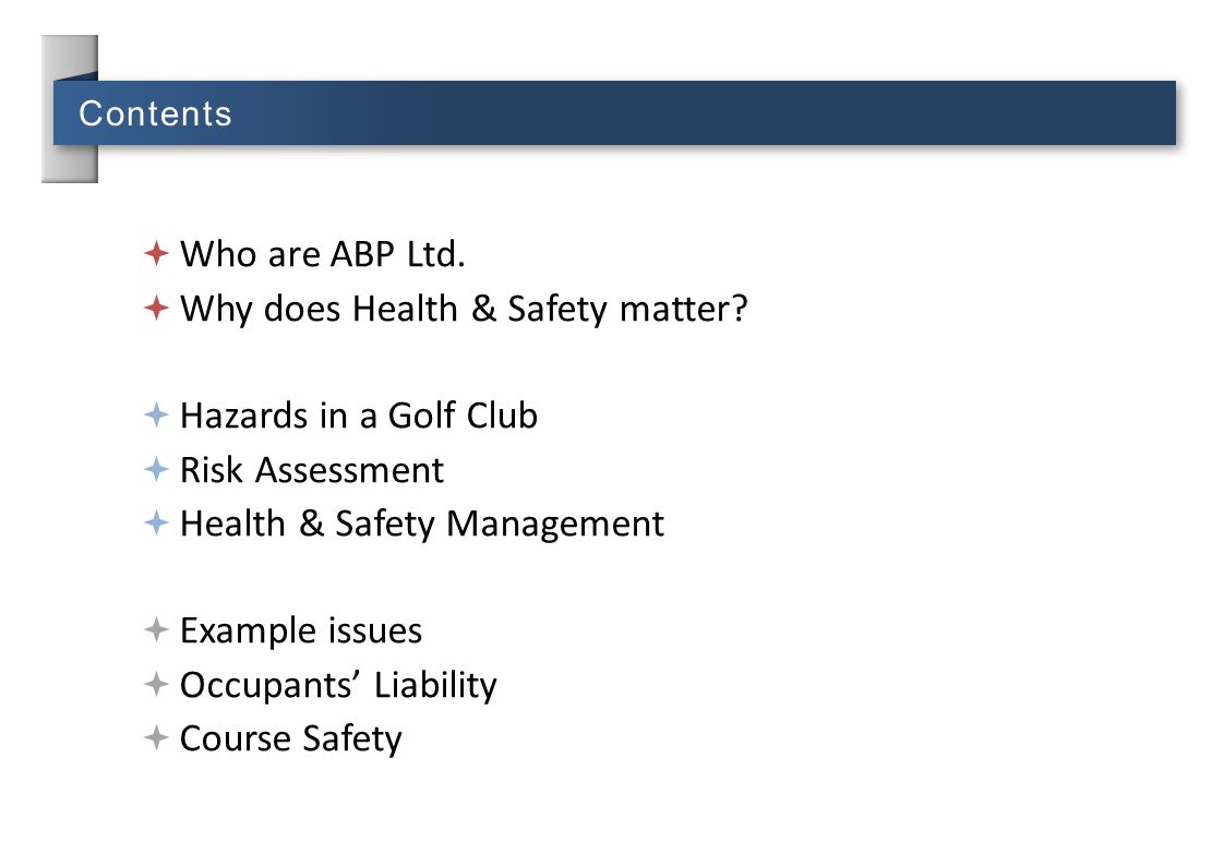 Why does Health & Safety matter Hazards in a Golf Club