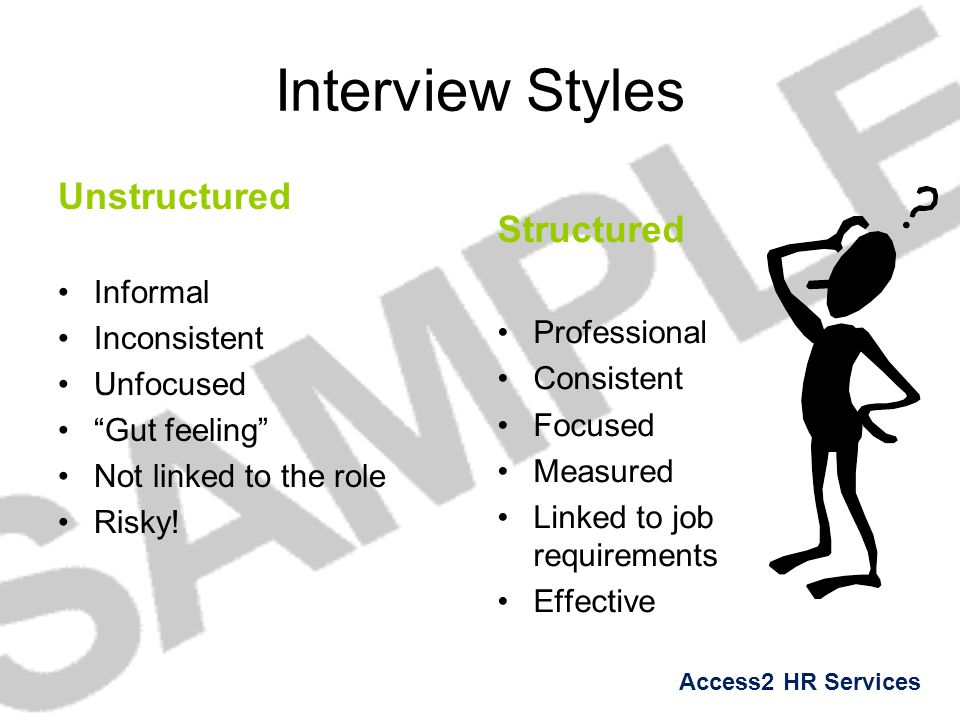 Interview Styles Unstructured Structured Informal Inconsistent