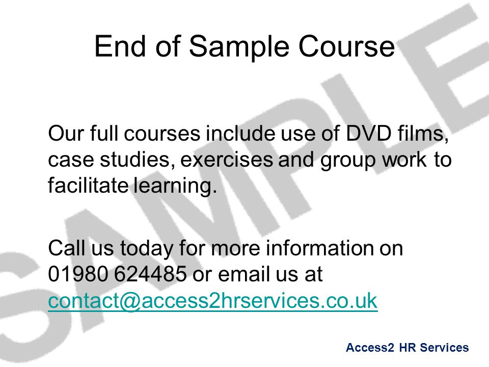 End of Sample Course