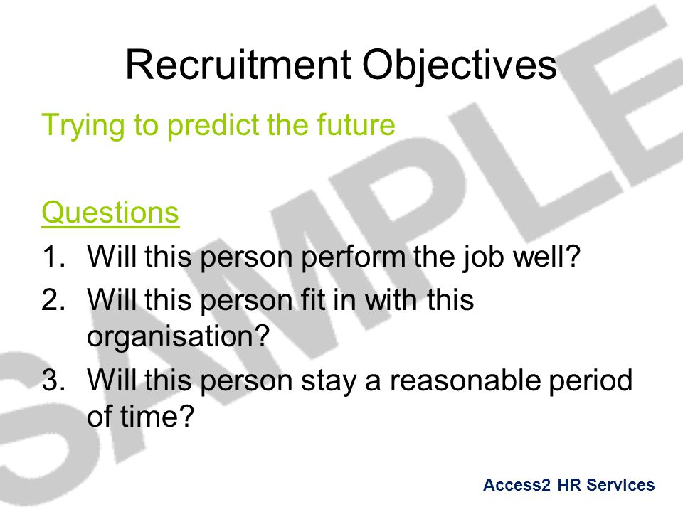 Recruitment Objectives