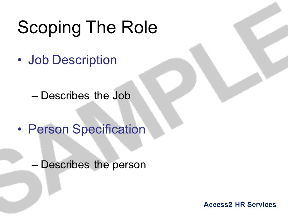 Scoping The Role Job Description Person Specification