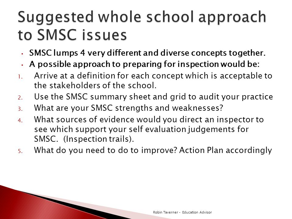 Suggested whole school approach to SMSC issues