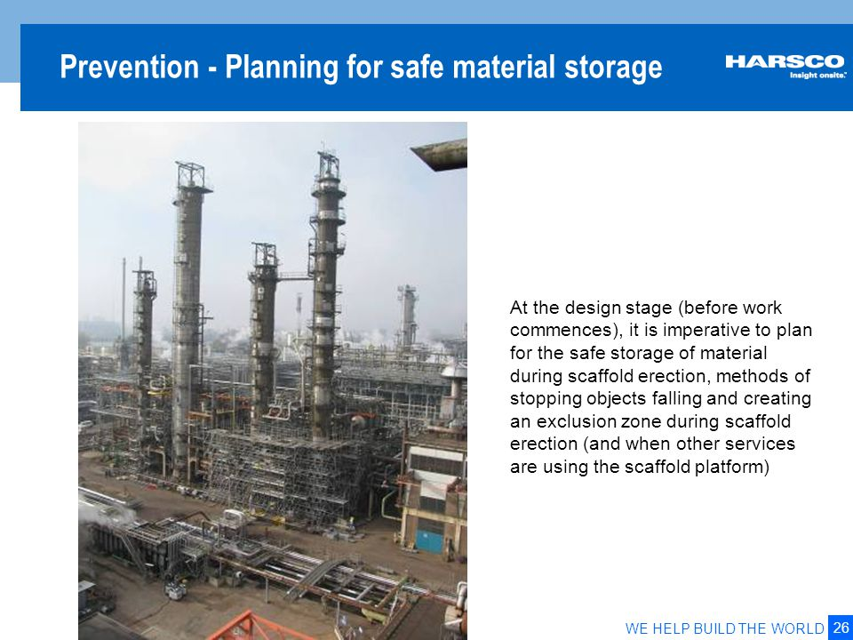 Safe Zone Design for materials on a work platform