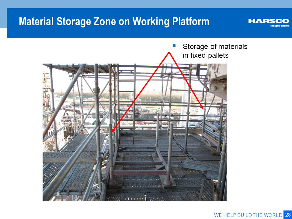 Material safe zones on a work platform