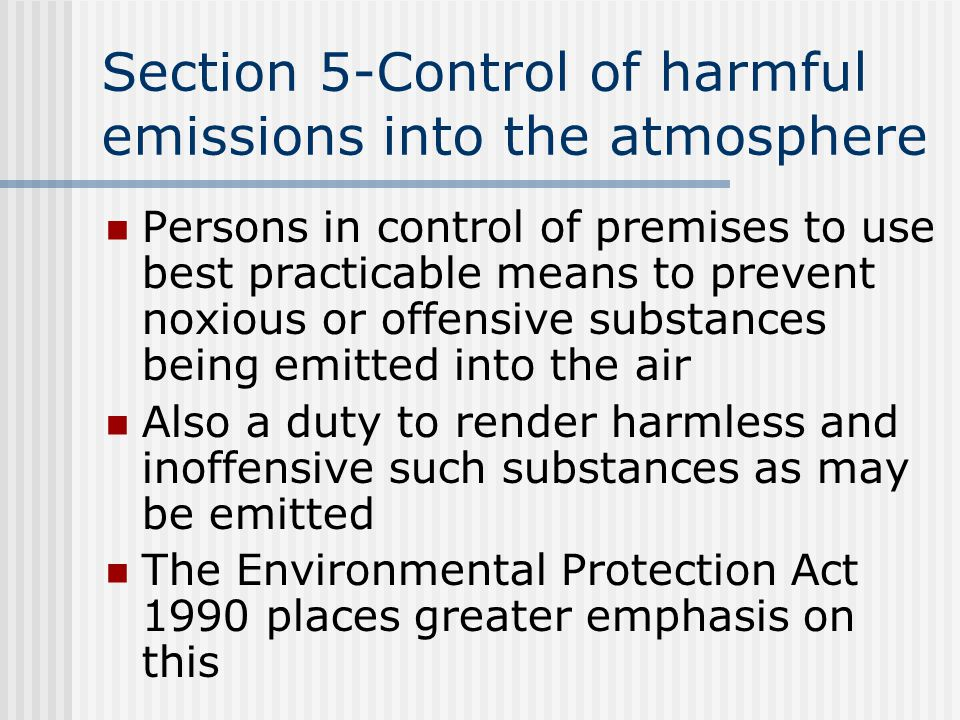 Section 5-Control of harmful emissions into the atmosphere