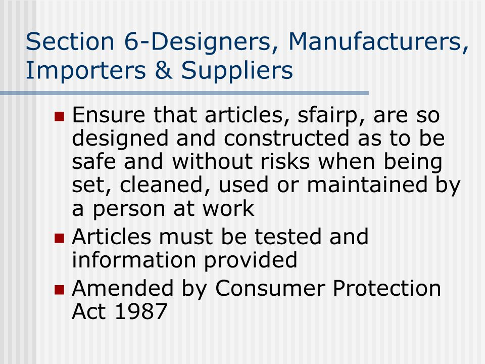 Section 6-Designers, Manufacturers, Importers & Suppliers