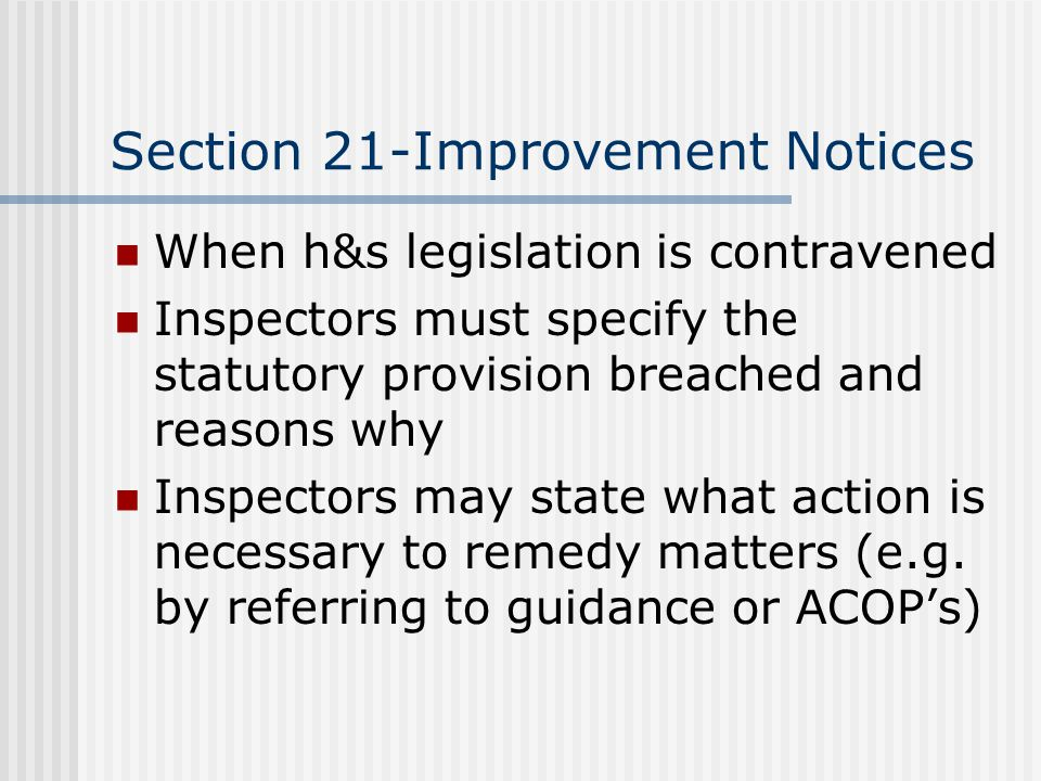 Section 21-Improvement Notices