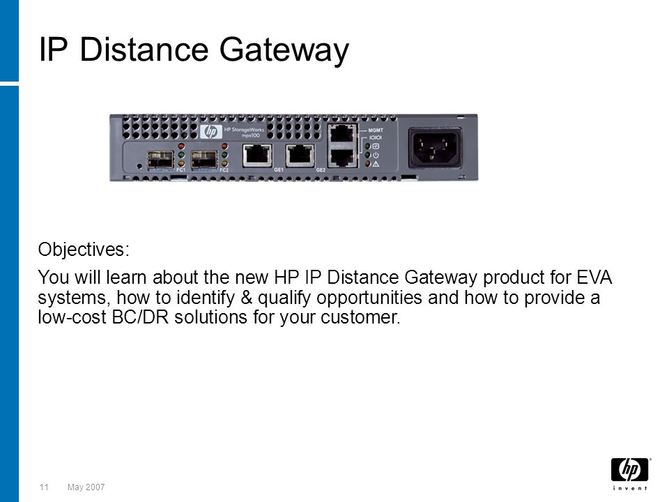 IP Distance Gateway Objectives: