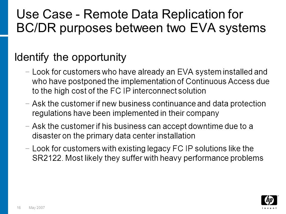 Use Case - Remote Data Replication for BC/DR purposes between two EVA systems