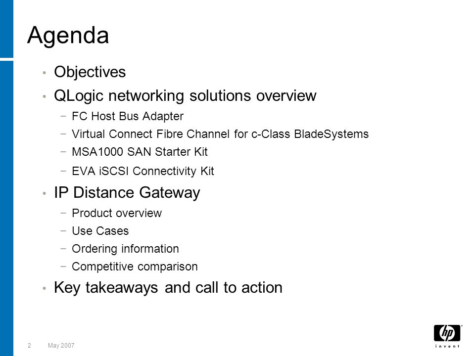 Agenda Objectives QLogic networking solutions overview