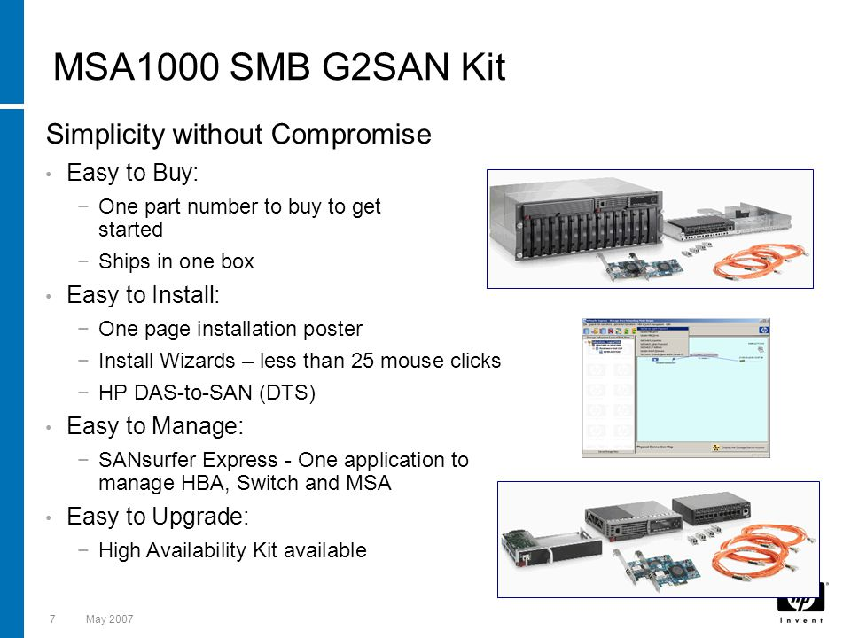 MSA1000 SMB G2SAN Kit Simplicity without Compromise Easy to Buy:
