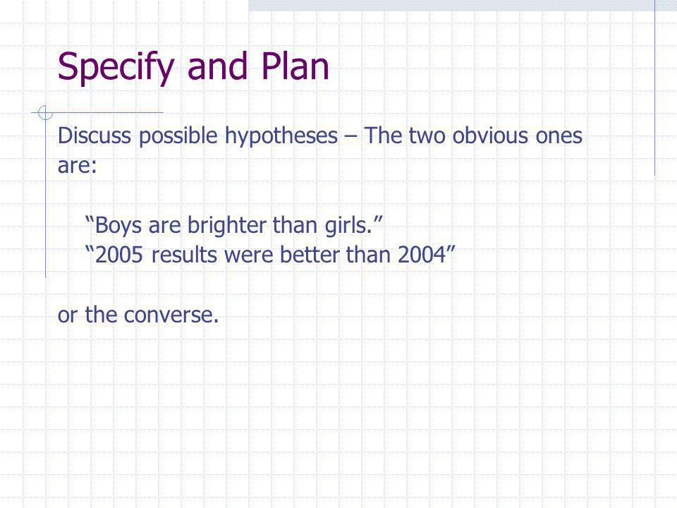 Specify and Plan Discuss possible hypotheses – The two obvious ones