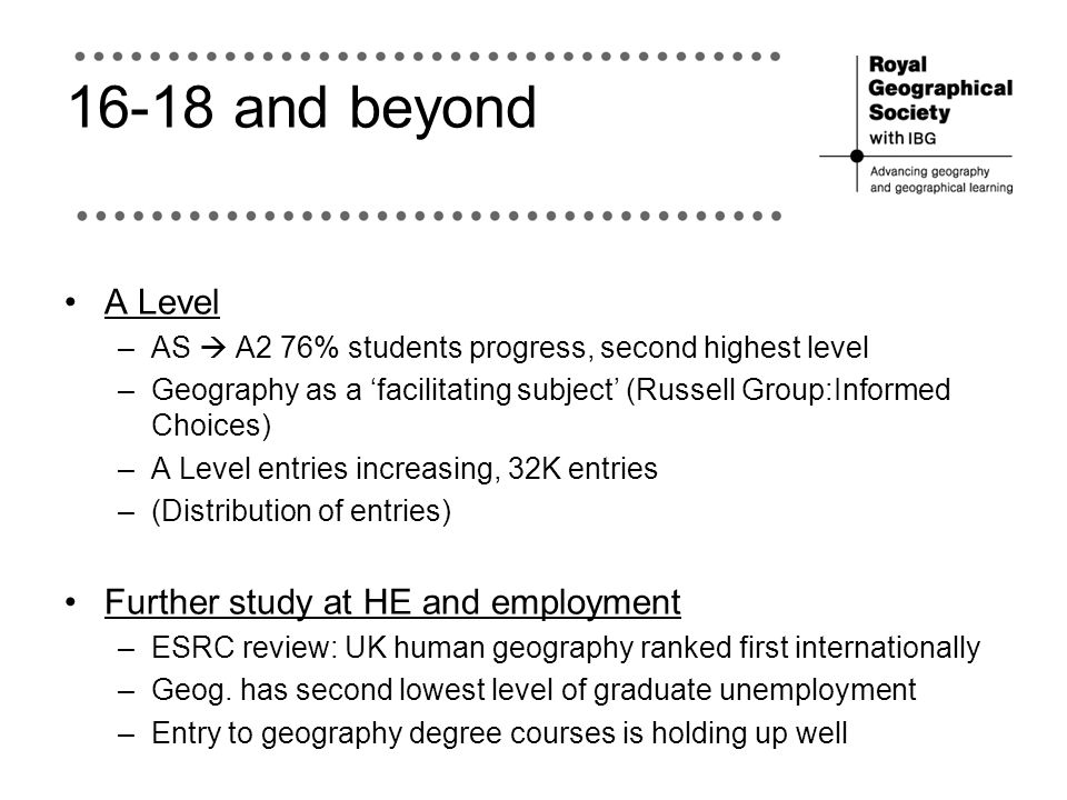 16-18 and beyond A Level Further study at HE and employment