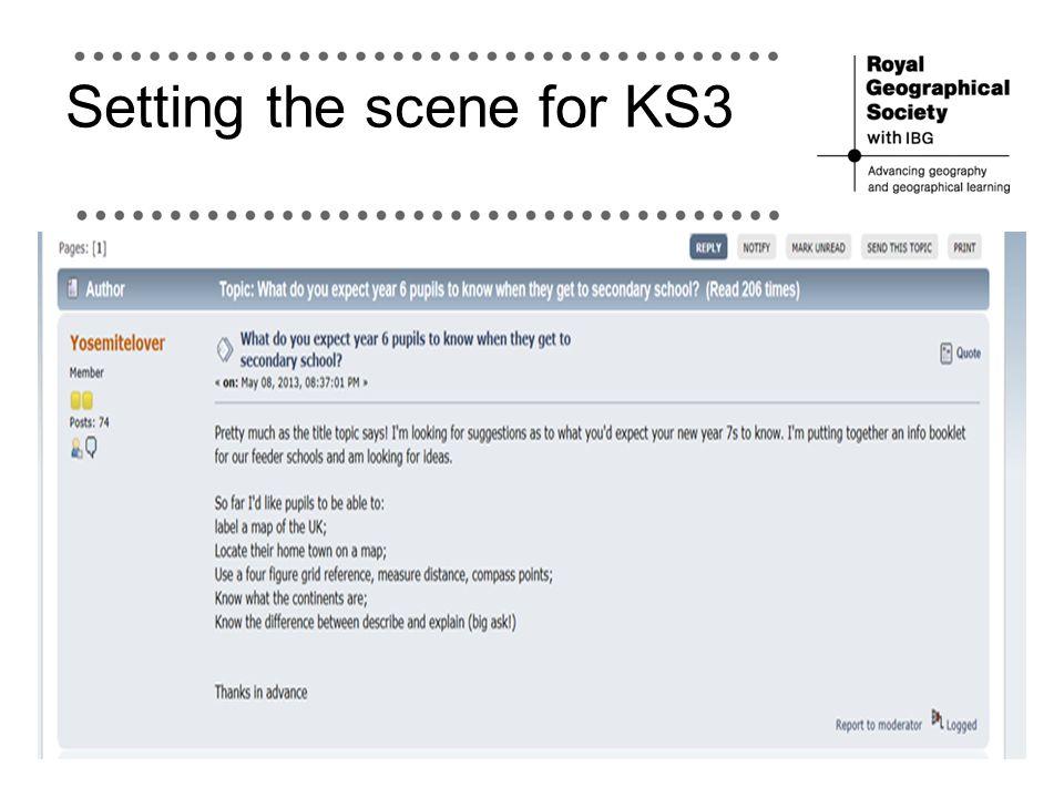 Setting the scene for KS3