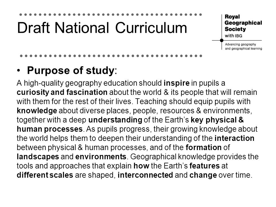 Draft National Curriculum