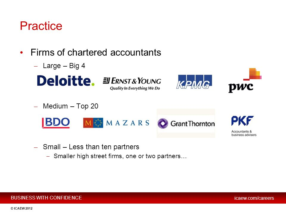 Practice Firms of chartered accountants Large – Big 4 Medium – Top 20
