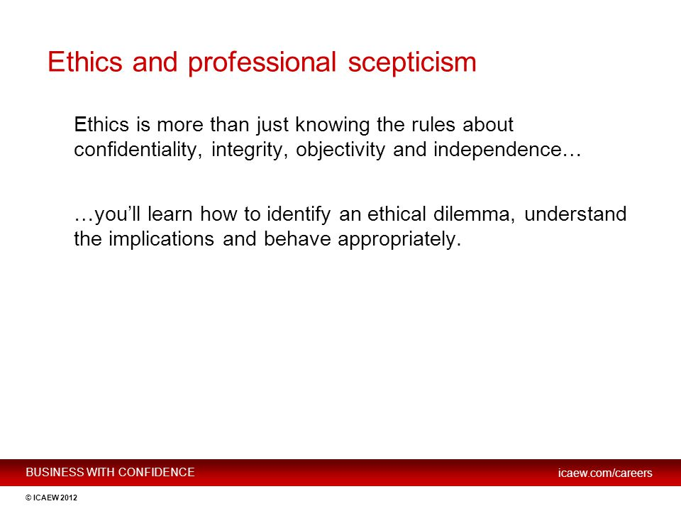 Ethics and professional scepticism