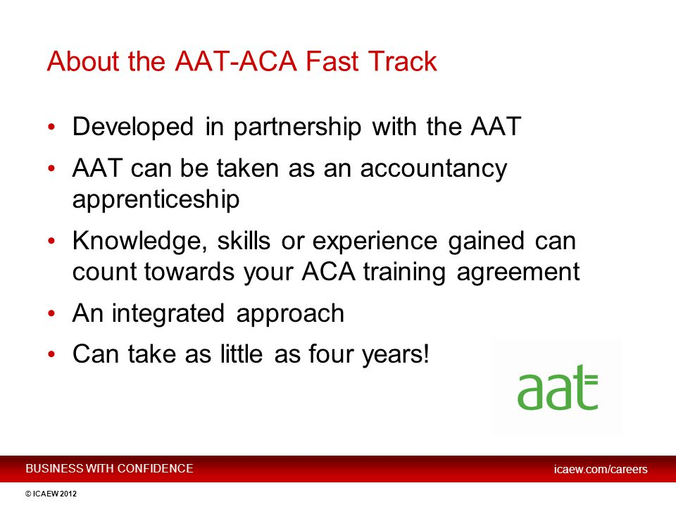 About the AAT-ACA Fast Track